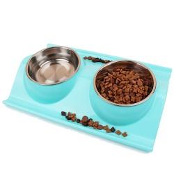 Voer en drinkbak kat-hond blauw
