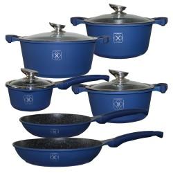 Kookkunst Holland 10 delige pannenset met glazen deksel en silicone koude handgrepen blauw