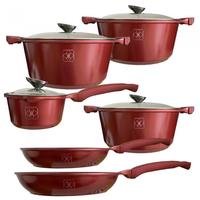 Kookkunst Holland 10 delige pannenset met glazen deksel en silicone koude handgrepen bordeaux rood