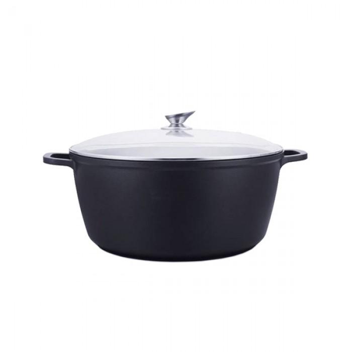 Kookkunst Holland braadpannenset inductie met deksels zwart - Ø 24, 28 & 32 cm - 3 delig