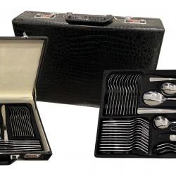 DeBlock 72 delige roestvrijstalen bestekset 12 personen met luxe koffer - zilver