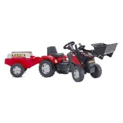 Falk Tractor Case MXU 115 Traptractor + Voorlader + Aanhanger