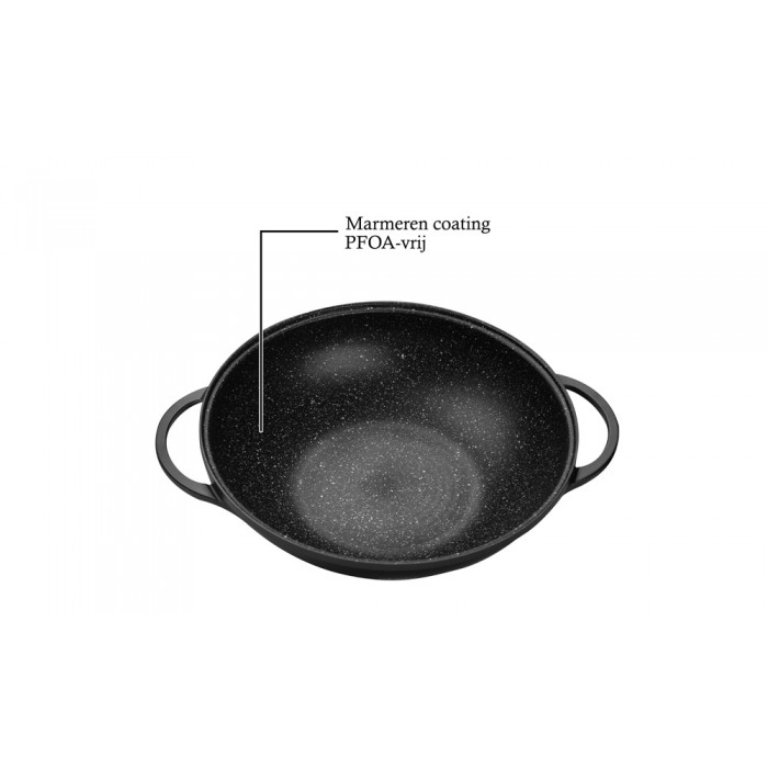 DeBlock Platinum wokpan met glazen deksel Ø 36 cm - geschikt voor inductie - koudgrepen - bordeaux rood