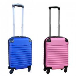 Travelerz kofferset 2 delige ABS handbagage koffers - met cijferslot - 27 liter - licht roze - blauw