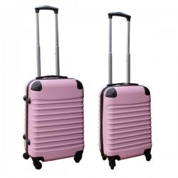 2 delige ABS handbagage kofferset 27 en 39 liter licht roze
