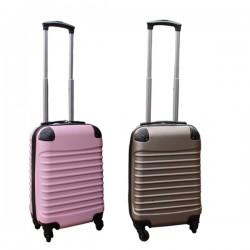 2 delige ABS handbagage kofferset 27 liter goud en licht roze (228)