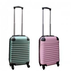 2 delige ABS handbagage kofferset 27 liter groen en licht roze (228)