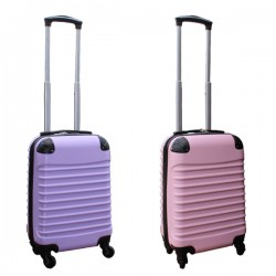 2 delige ABS handbagage kofferset 27 liter licht roze en lila (228)