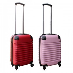 2 delige ABS handbagage kofferset 27 liter licht roze en rood