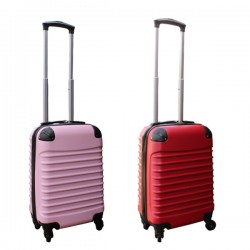 2 delige ABS handbagage kofferset 27 liter rood en licht roze (228)