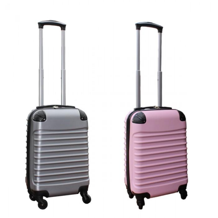2 delige ABS handbagage kofferset 27 liter zilver en licht roze (228)