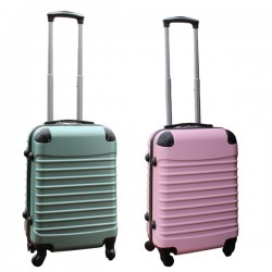 2 delige ABS handbagage kofferset 39 liter groen en licht roze (228)