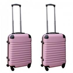 2 delige ABS handbagage kofferset 39 liter licht roze (228)