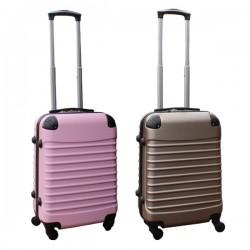 2 delige ABS handbagage kofferset 39 liter licht roze en goud (228)