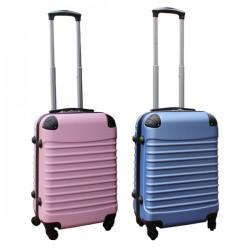 2 delige ABS handbagage kofferset 39 liter licht roze en licht blauw (228)