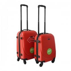 2 delige ABS lichtgewicht harde handbagage kofferset met cijferslot rood