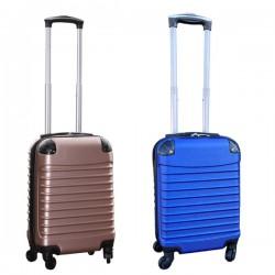 Travelerz kofferset 2 delige ABS handbagage koffers - met cijferslot - 27 liter - blauw - rose goud