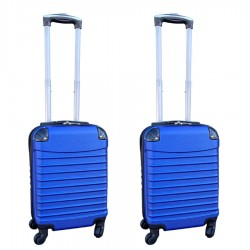 Travelerz kofferset 2 delige ABS handbagage koffers - met cijferslot - 27 liter - blauw
