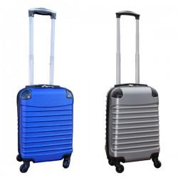 Travelerz kofferset 2 delige ABS handbagage koffers - met cijferslot - 27 liter - blauw - zilver