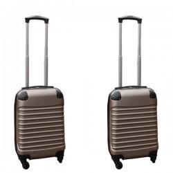 Travelerz kofferset 2 delige ABS handbagage koffers - met cijferslot - 27 liter - champagne
