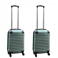 Travelerz kofferset 2 delige ABS handbagage koffers - met cijferslot - 27 liter - groen