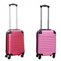 Travelerz kofferset 2 delige ABS handbagage koffers - met cijferslot - 27 liter - licht roze - roze