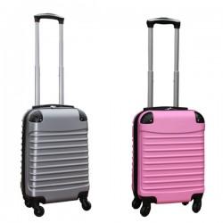 Travelerz kofferset 2 delige ABS handbagage koffers - met cijferslot - 27 liter - licht roze - zilver