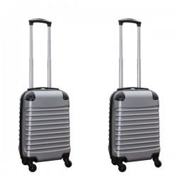 Travelerz kofferset 2 delige ABS handbagage koffers - met cijferslot - 27 liter - zilver