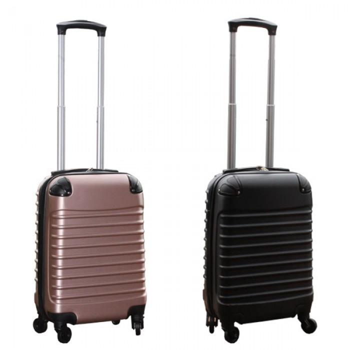 Travelerz kofferset 2 delige ABS handbagage koffers - met cijferslot - 27 liter - zwart - rose goud