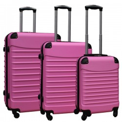 Travelerz kofferset 3 delig met wielen en cijferslot - ABS - licht roze (228-)