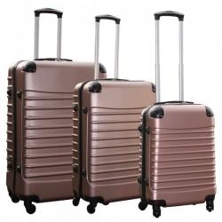 Travelerz kofferset 3 delig met wielen en cijferslot - ABS - rose goud (228-)