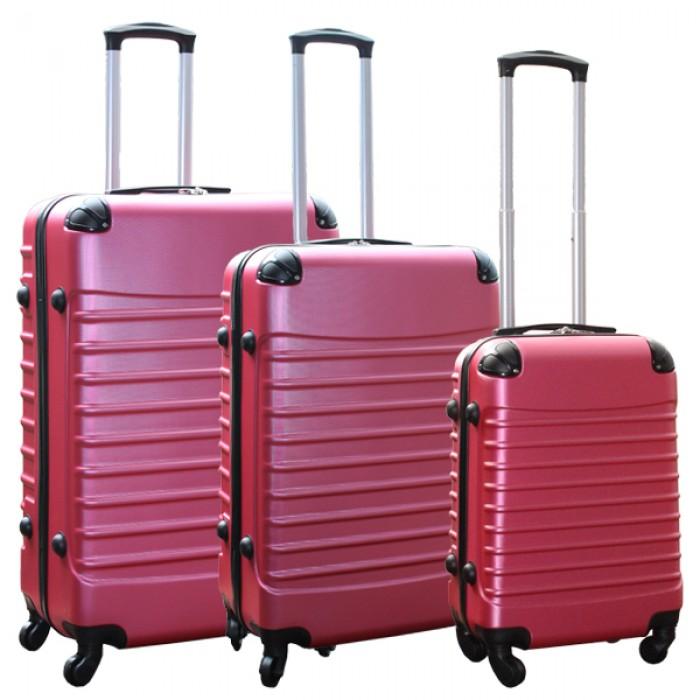 Travelerz kofferset 3 delig met wielen en cijferslot - ABS - roze (228-)