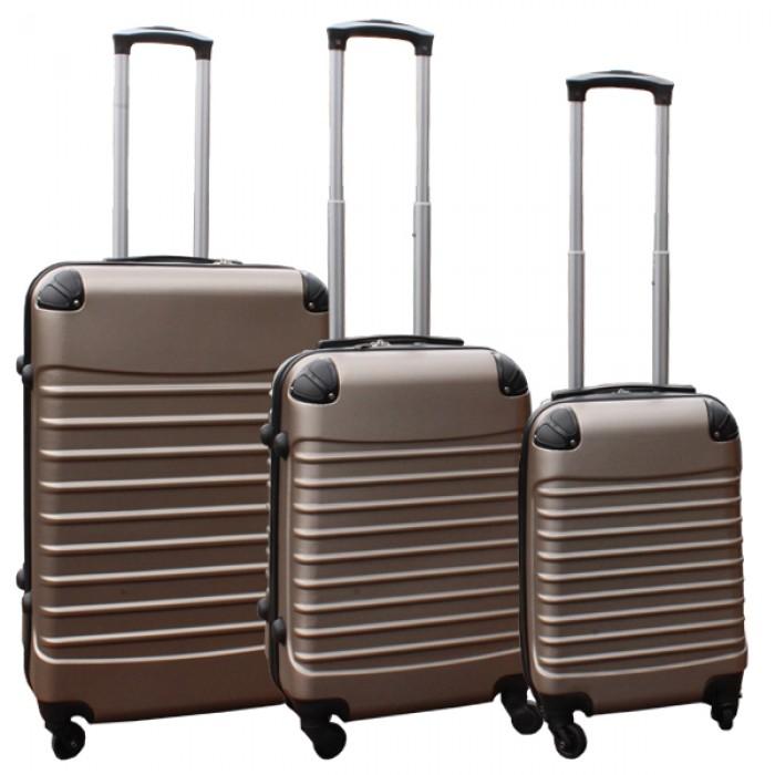Travelerz kofferset 3 delig met wielen en cijferslot - handbagage koffers - ABS - champagne