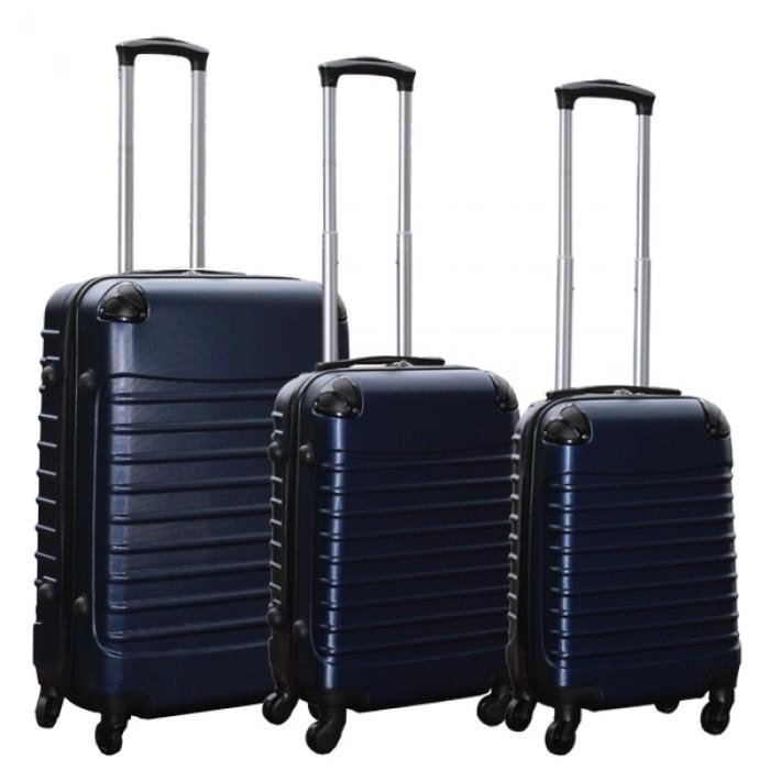 Travelerz kofferset 3 delig met wielen en cijferslot - handbagage koffers - ABS - donker blauw