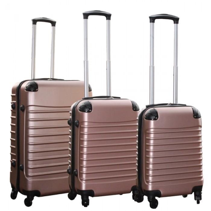 Travelerz kofferset 3 delig met wielen en cijferslot - handbagage koffers - ABS - Rose goud