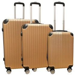 Travelerz kofferset 3 delig met wielen en cijferslot - ABS - rose goud (1627)