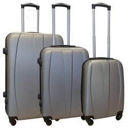 Travelerz kofferset 3 delig met wielen en cijferslot - ABS - zilver (8986)