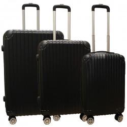 Travelerz kofferset 3 delig met wielen en cijferslot - ABS - zwart (1627)