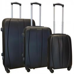 Travelerz kofferset 3 delig met wielen en cijferslot - ABS - zwart (8986)
