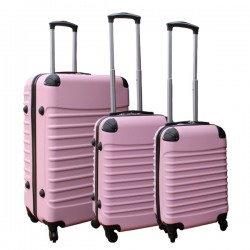 3 delige ABS lichtgewicht harde kofferset met cijferslot licht roze (228)
