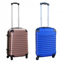 Travelerz kofferset 2 delige ABS handbagage koffers - met cijferslot - 39 liter - blauw - rose goud