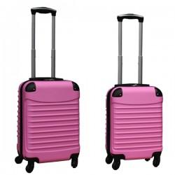 Travelerz kofferset 2 delige ABS handbagage koffers - met cijferslot - 27 en 39 liter – licht roze