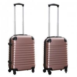 Travelerz kofferset 2 delige ABS handbagage koffers - met cijferslot - 27 en 39 liter - rose goud