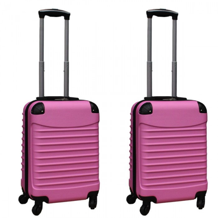Travelerz kofferset 2 delige ABS handbagage koffers - met cijferslot - 39 liter - licht roze