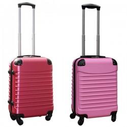 Travelerz kofferset 2 delige ABS handbagage koffers - met cijferslot - 39 liter - roze - licht roze