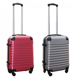 Travelerz kofferset 2 delige ABS handbagage koffers - met cijferslot - 39 liter - roze - zilver