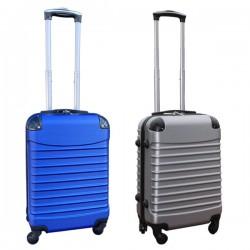 Travelerz kofferset 2 delige ABS handbagage koffers - met cijferslot - 39 liter - zilver - blauw