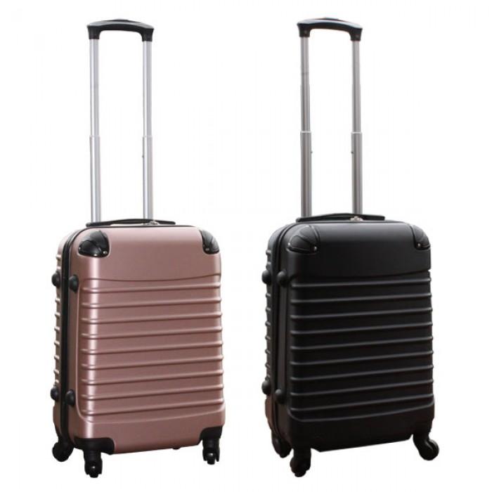 Travelerz kofferset 2 delige ABS handbagage koffers - met cijferslot - 39 liter - zwart - rose goud