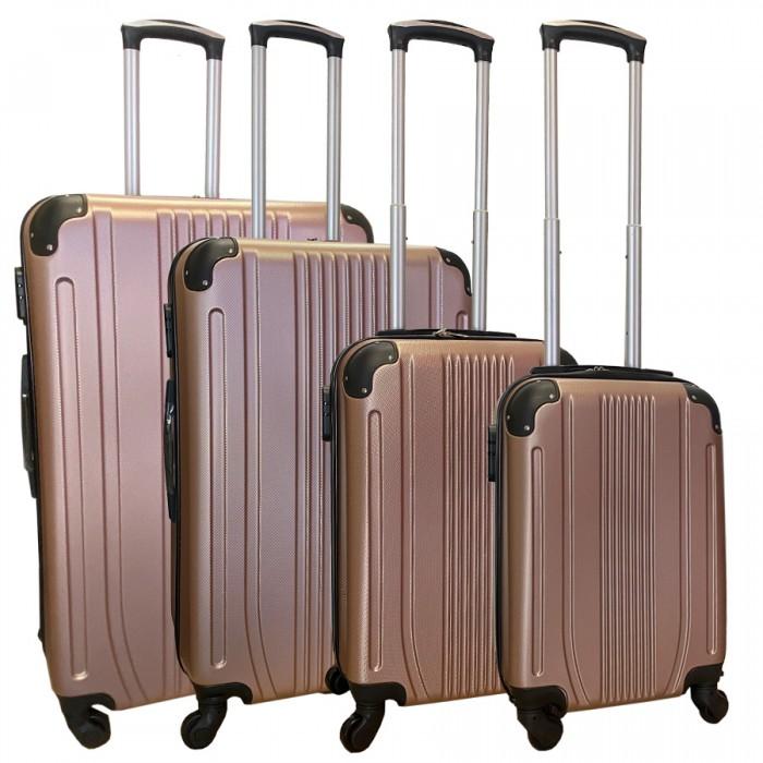 Travelerz kofferset 4 delig ABS - zwenkwielen - met cijferslot - rose goud - (168)