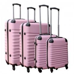 4 delige ABS lichtgewicht harde kofferset met cijferslot licht roze (228) Travelerz